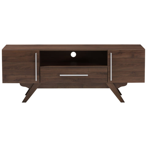 Baxton Studio Ashfield Mid-Century Modern Walnut Brown Finished Wood TV Stand
