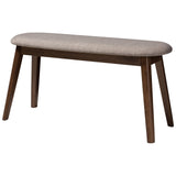 Baxton Studio Easton Modern Fabric Upholstered Walnut Wood Bench
