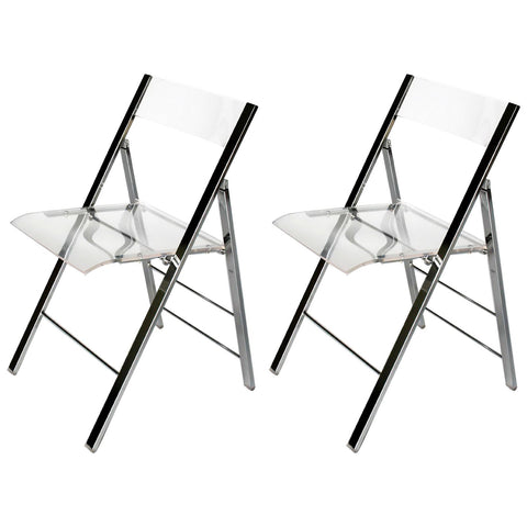 Baxton Studio Acrylic Foldable Chair, Set of 2