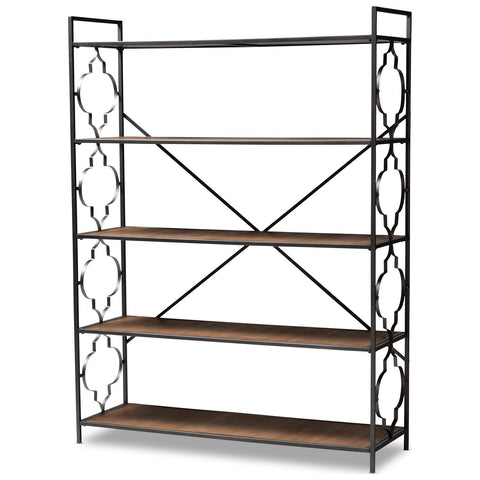 Baxton Studio Mirna Black and Natural 5-Shelf Quatrefoil Accent Bookcase
