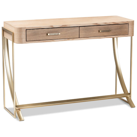 Baxton Studio Lafoy Natural Brown Wood and Gold 2-Drawer Console Table
