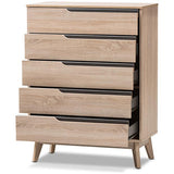 Baxton Studio Fella 5-Drawer Chest in Light Brown and Gray