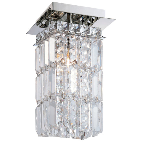 King 1-Light Flush Mount in Chrome and Clear Crystal Glass