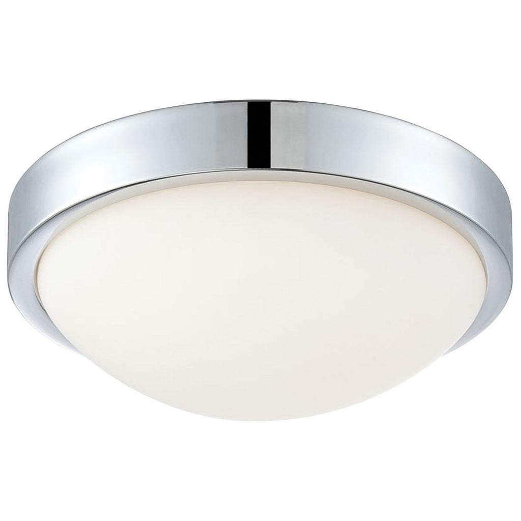 Sydney Flush Mount in Chrome and White Opal Glass