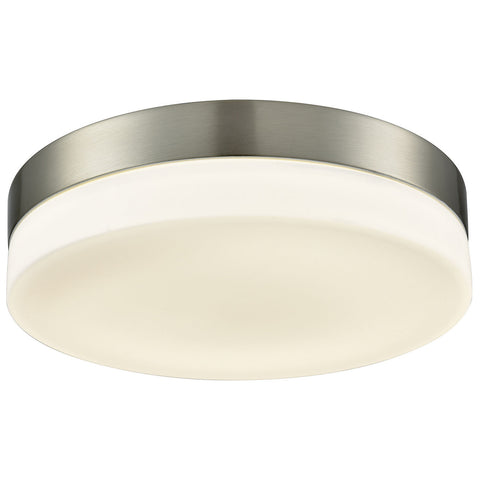 Holmby 1-Light Round Flush Mount in Satin Nickel with Opal Glass