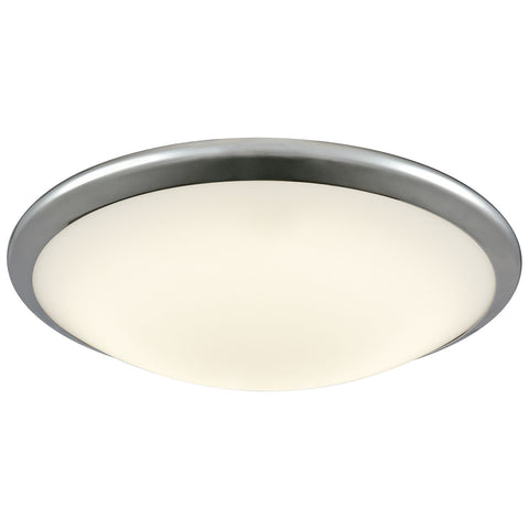 Clancy Round LED Flush Mount in Chrome and Opal Glass