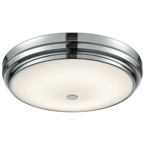 Garvey Round LED Flush Mount in Chrome and Opal Glass