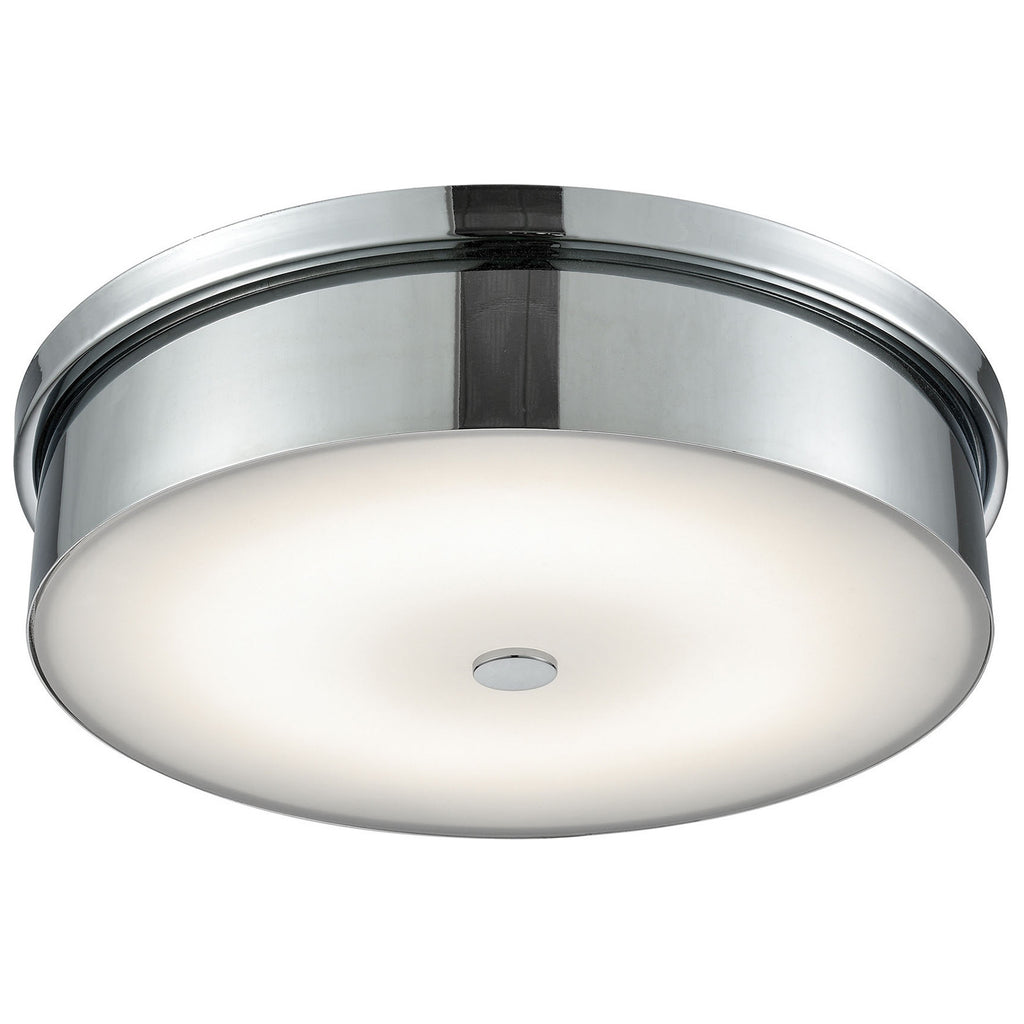 Towne Round LED Flush Mount in Chrome and Opal Glass