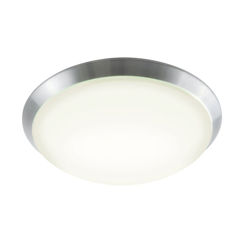 Luna Flush Mount in Brushed Aluminum and White Polycarbonate