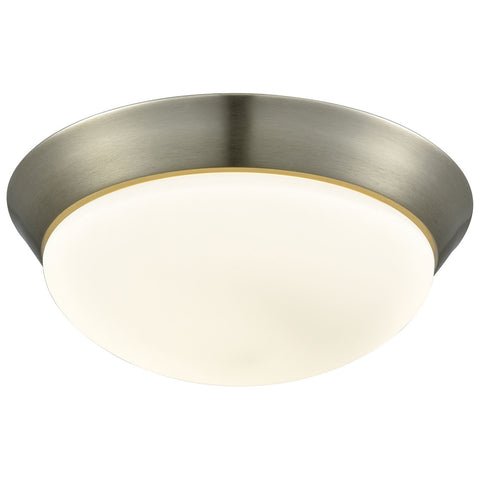 Contours 1-Light LED Flush Mount in Satin Nickel and Opal Glass