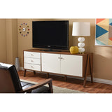 Harlow Mid-century Modern White and Walnut Wood Sideboard Storage Cabinet