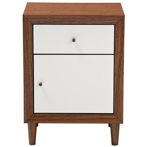Harlow Mid-century Modern White and Walnut Wood 1-drawer and 1-door Nightstand