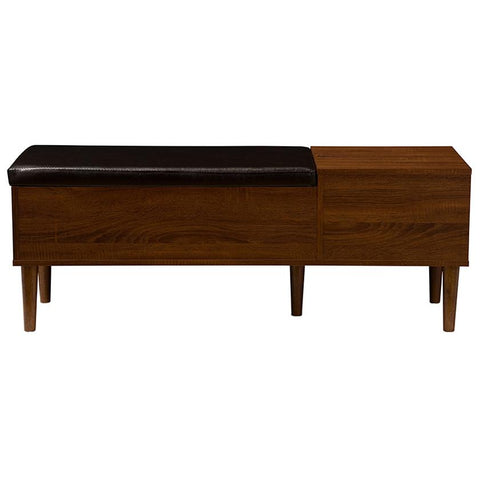 Merrick 1-drawer 2-tone Oak and Dark Brown Wood Entryway Storage Cushioned Bench