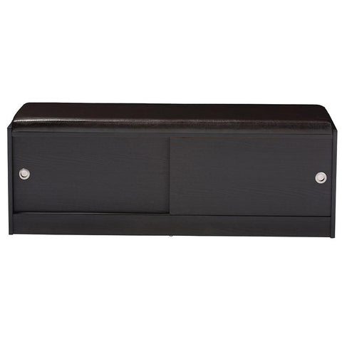 Clevedon Dark Brown Entryway Storage Cushioned Bench Shoe Rack Cabinet Organizer
