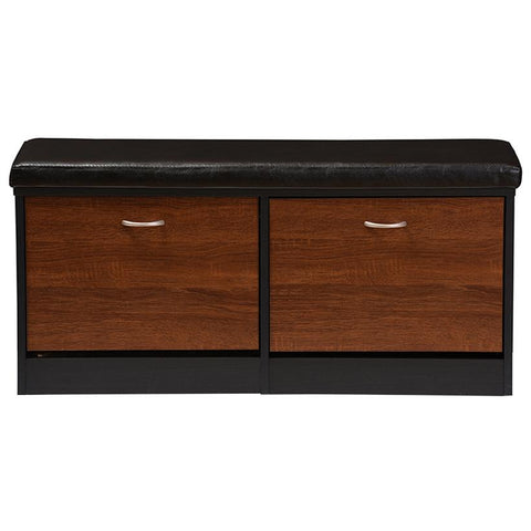 Foley 2-tone Dark Brown and Oak Finishing Entryway Storage Cushioned Bench