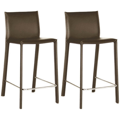 Brown Leather Counter Stool, Set of 2