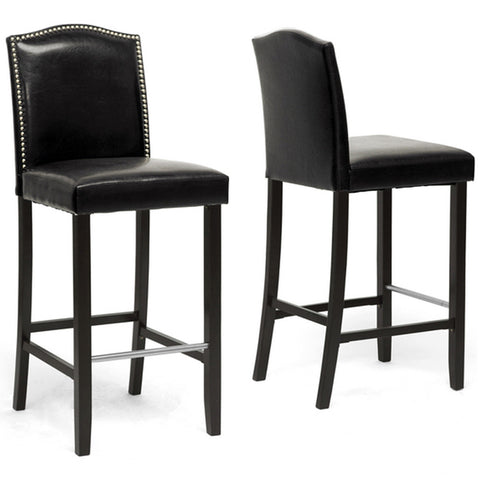 Libra Modern Bar Stools with Nail Head Trim, Set of 2
