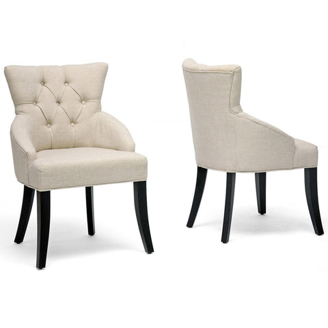 Halifax Beige Linen Dining Chairs, Set of 2
