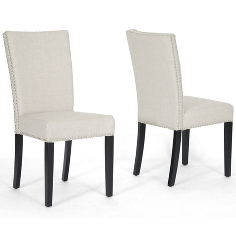 Harrowgate Beige Linen Modern Dining Chairs, Set of 2