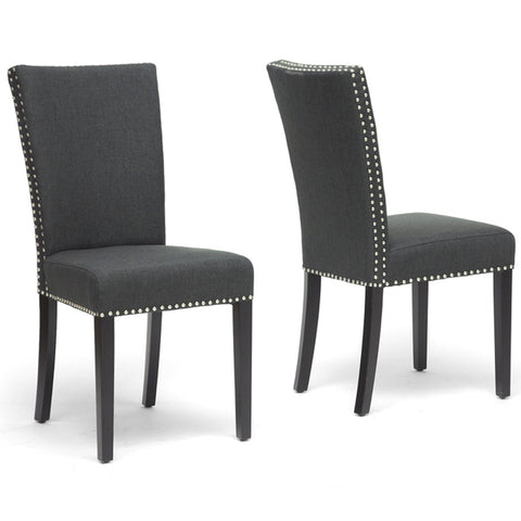 Harrowgate Dark Gray Linen Modern Dining Chairs, Set of 2