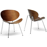 Reaves Walnut Effect Mid-Century Modern Accent Chairs, Set of 2