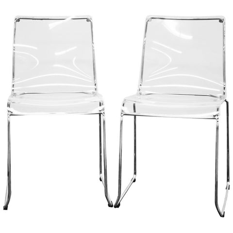 Lino Transparent Acrylic Dining Chairs, Set of 2