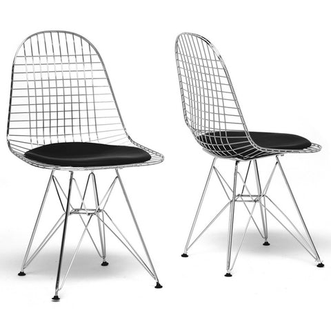 Avery Mid-Century Modern Wire Chair with Black Cushion, Set of 2