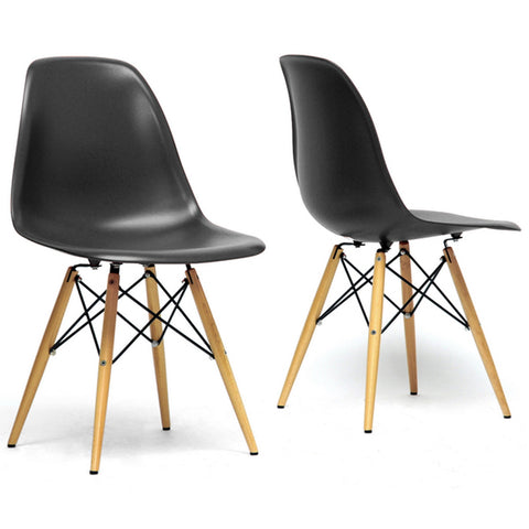 Azzo Plastic Mid-Century Modern Shell Chairs, Set of 2