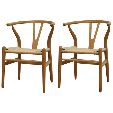 Wishbone Chair and Natural Wood Y Chair, Set of 2