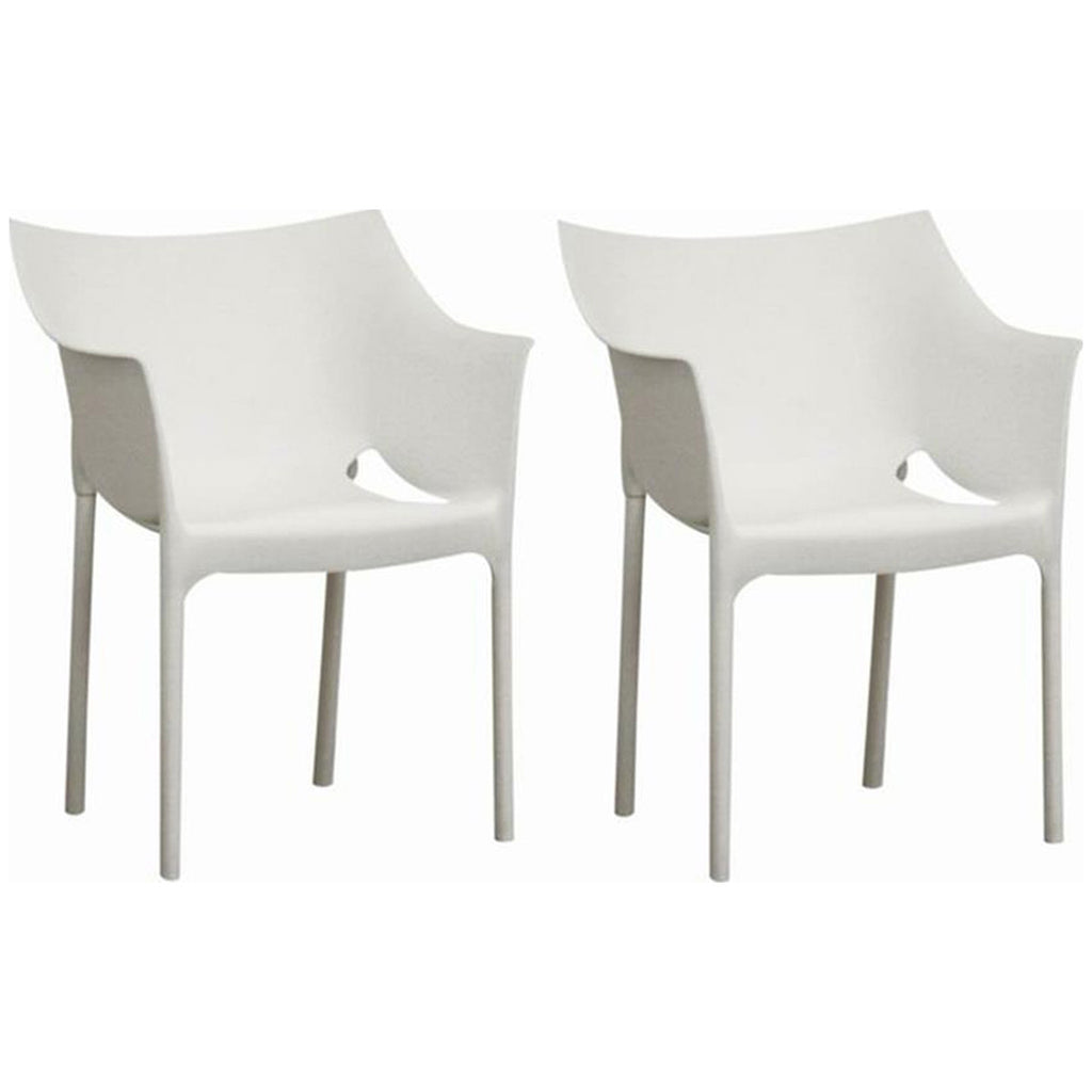 White Molded Plastic Arm Chair, Set of 2