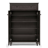 Glidden Tall Dark Brown Wood Modern Shoe Cabinet