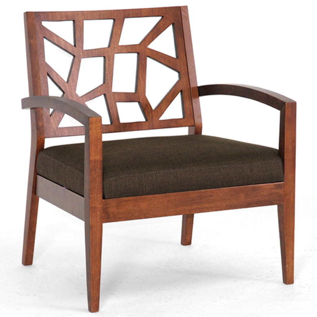 Jennifer Modern Lounge Chair with Dark Brown Fabric Seat