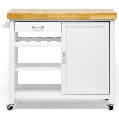 Denver White Modern Kitchen Cart with Butcher Block Top