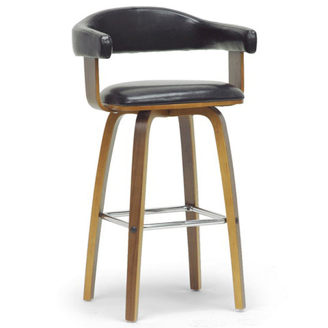 Quigley Walnut and Black Modern Counter Stool