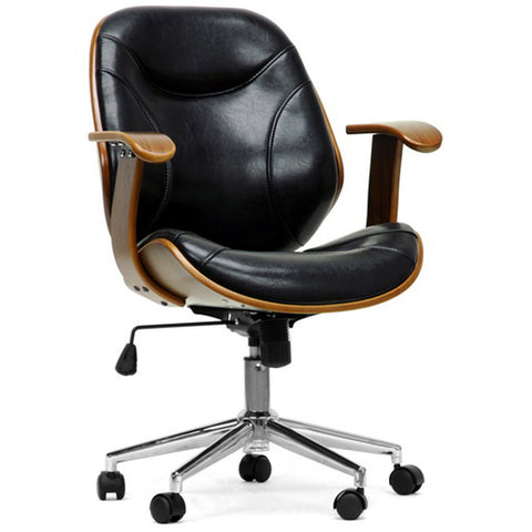 Rathburn Walnut and Black Modern Office Chair