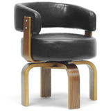 Fortson Walnut and Black Modern Accent Chair