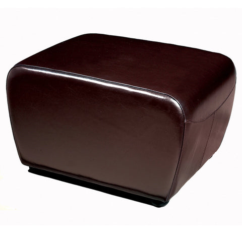 Dark Brown Full Leather Ottoman with Rounded Sides