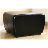 Black Full Leather Ottoman with Rounded Sides