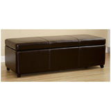 Dark Brown Full Leather Storage Bench Ottoman with Stitching