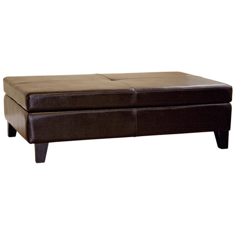 Sandusky Dark Brown Full Leather Cocktail Ottoman