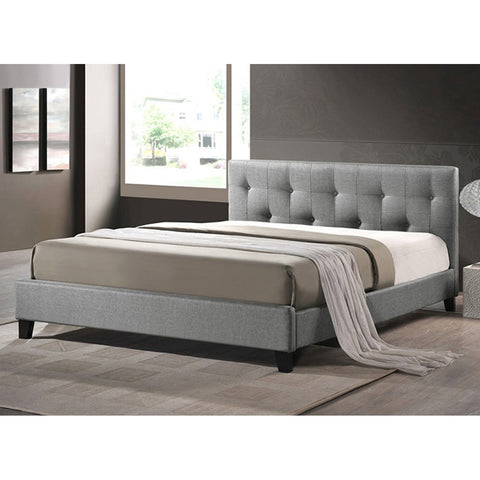 Annette Gray Linen Modern Bed with Upholstered Headboard