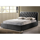 Bianca Black Modern Bed with Tufted Headboard
