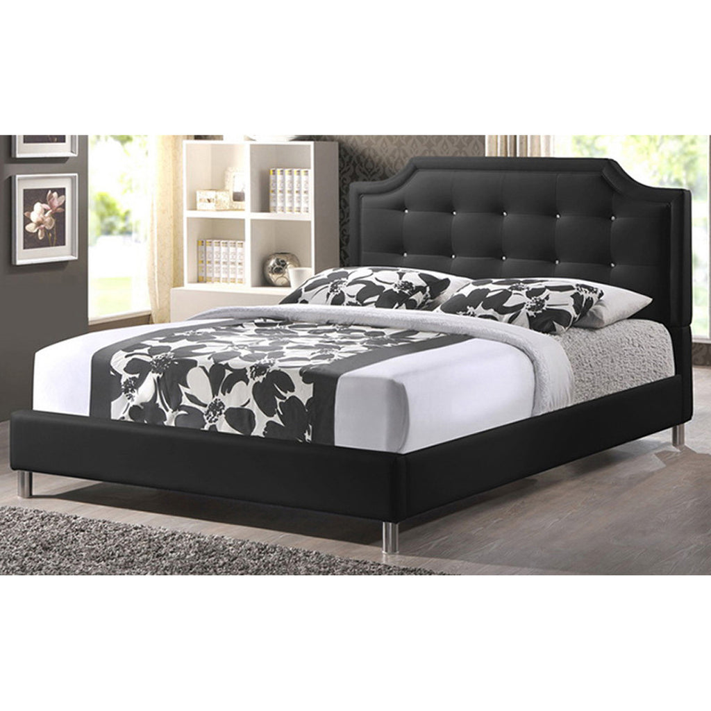 Carlotta Modern Bed with Upholstered Headboard, Queen Size