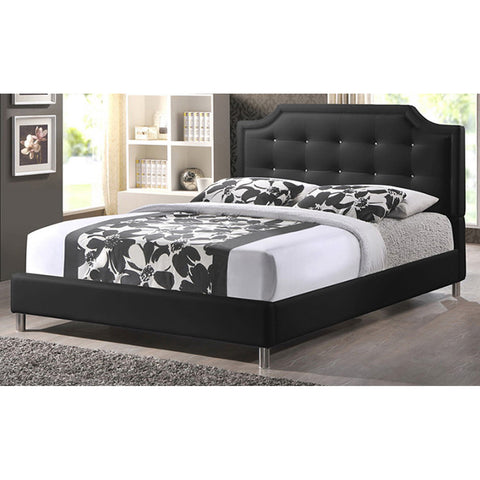Carlotta Modern Bed with Upholstered Headboard, Full Size