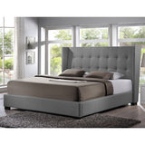 Favela Linen Modern Bed with Upholstered Headboard - King