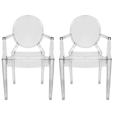 Dymas Modern Acrylic Armed Ghost Chair, Set of 2