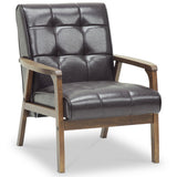 Baxton Studio Mid, Century Masterpieces Club Chair, Brown