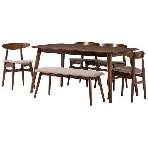 Baxton Studio Flora Light Grey Fabric and Medium Brown Wood 6-Piece Dining Set