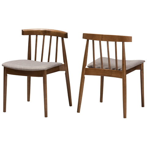 Baxton Studio Wyatt Mid-Century Modern Walnut Wood Dining Chair, Set of 2