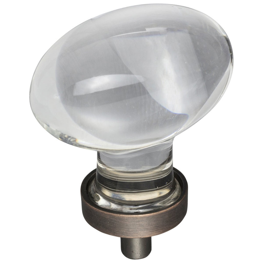 "1-5/8"" Overall Length Glass Football Cabinet Knob"